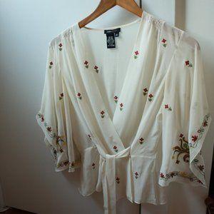 BCBG MaxAzria Silk Wrap Top